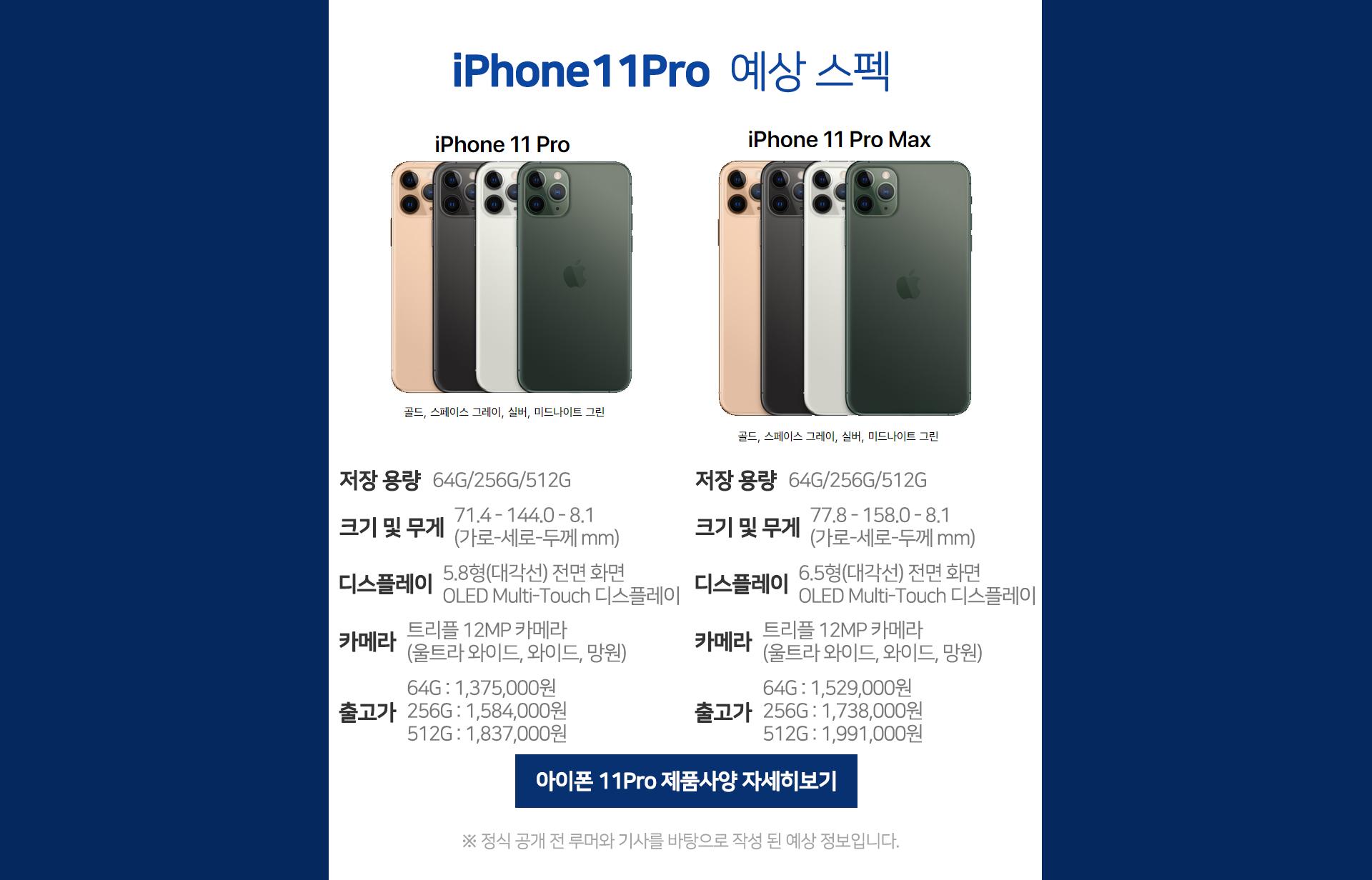 아이폰11프로 예상정보